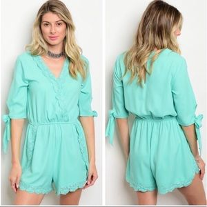 Pants - ❣️SALE❣️Mint Color 3/4 Sleeve Romper-summer ready